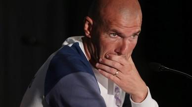 Zidane, durante una rueda de prensa en el Ohio Stadium de Columbus