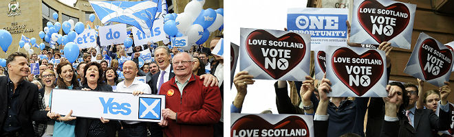 Partidarios del 's�' y del 'no' hacen campa�a en distintos puntos de Glasgow, este mi�rcoles.