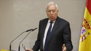 El ministro de Exteriores, José Manuel García-Margallo, este jueves durante la presentación de un libro.