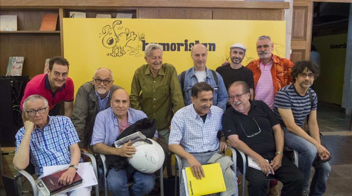 Dibujantes gráficos en la presentación de Humoristán.