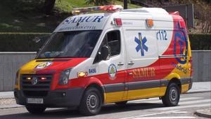 Ambulancia del Samur, en las calles de Madrid.
