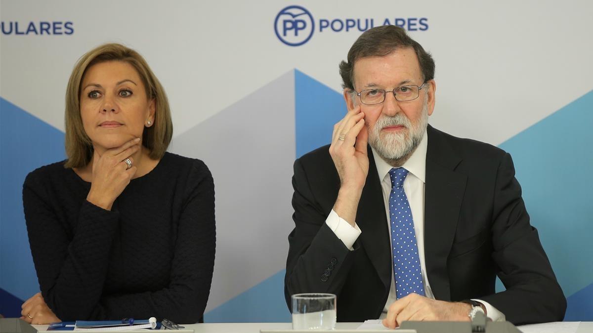 María Dolores de Cospedal junto a Mariano Rajoy durante el comité ejecutivo nacional del PP.