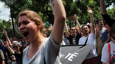 Manifestantes en Par�s contra la reforma laboral.