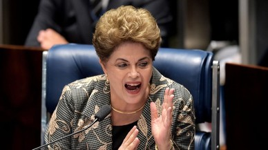 Dilma Rousseff durante su intervenci�n en el Senado.