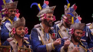 'El mayor espectáculo del mundo' ganador del Concurso Oficial de Agrupaciones Carnavalescas (COAC2017) de Cádiz en la modalidad de coros, en un momento de la final.