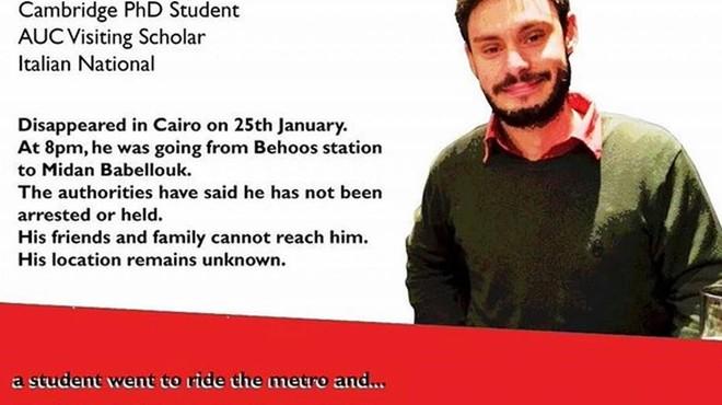 Imagen del joven Regeni colgada en internet denunciando su desaparici�n en El Cairo