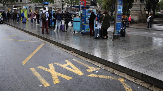 Manifestación de taxistas en el centro de Barcelona