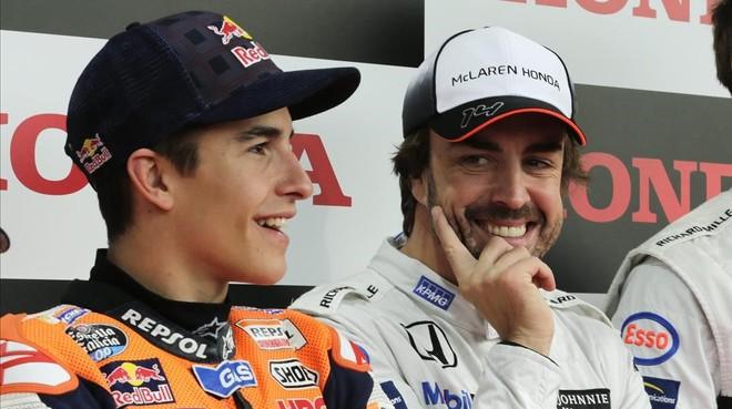 Marc Márquez y Fernando Alonso, juntos en Motegi (Japón).