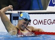 Mireia Belmonte, celebra la victoria en la prueba de los200m mariposa en los Juegos de R�o 2016