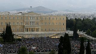 Vista de la manifestaci�n de este martes en la plaza Syntagma de Atenas, que apoya el 's�' al refer�ndum griego.