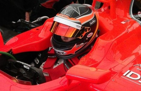 Mara de Villota, en el Marussia, instantes antes del accidente.