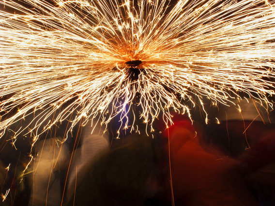 Imatge del correfoc, durant les festes de la Mercè de lany passat.