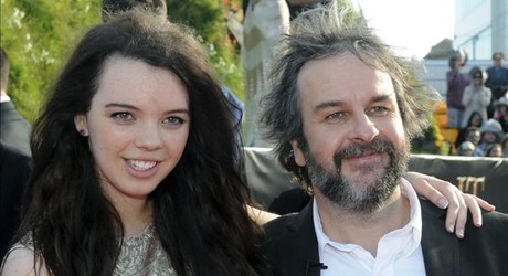 Peter Jackson y su hija katie, en el estreno de 'El Hobbit'