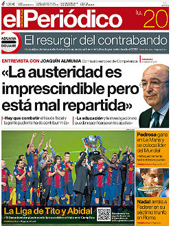La portada de EL PERIDICO DE CATALUNYA.