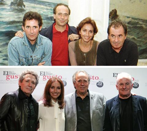 Los cuatro artistas posando juntos de nuevo