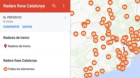 Mapa de los radares de Barcelona y Catalunya