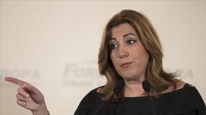 Susana Díaz, este martes en Sevilla.