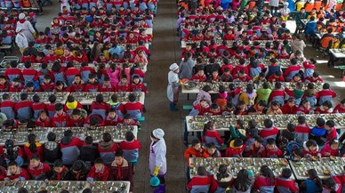 Pla general del menjador d'una escola primària a Wuhan (Xina).