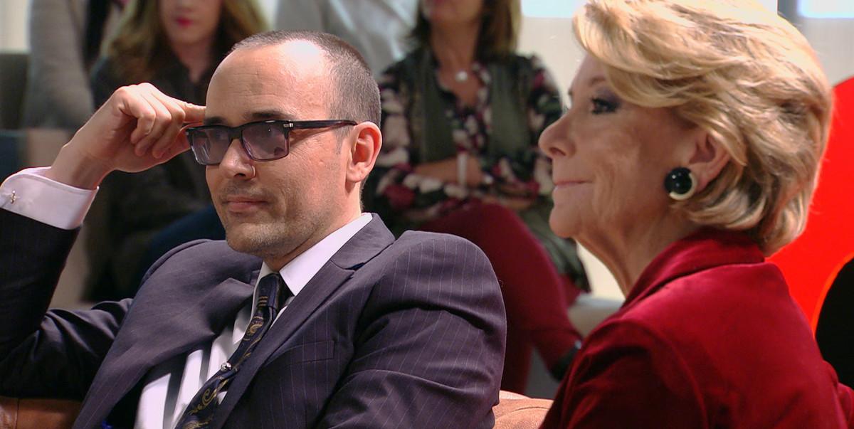 Risto Mejidey Esperanza Aguirre, en el programa de Cuatro 'Chester in love'.