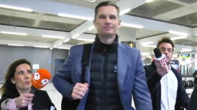 Urdangarin, a su llegada al aeropuerto de Palma, esta mañana.