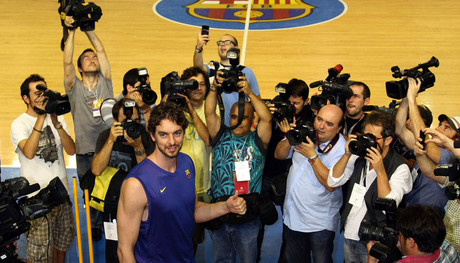 Pau Gasol, el da en que empez a entrenar con el Bara mientras duraba el cierra patronal de la NBA.