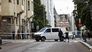 Escena del accidente de Helsinki causado por un conductor borracho.