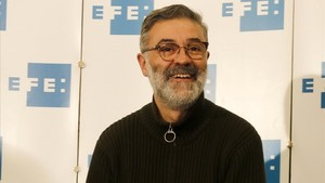 El candidato de la CUP, Carles Riera, en la rueda de prensa que ha ofrecido este jueves en la sede de la agencia Efe.