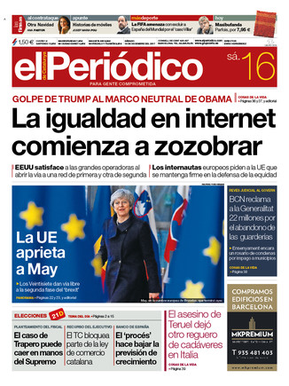 La portada de EL PERIÓDICO del 16 de diciembre del 2017