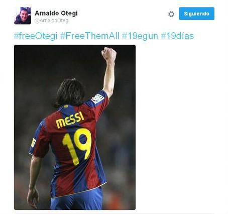 Otegi utiliza una imagen de Messi en su cuenta atrás para salir de la cárcel