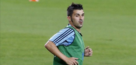 Villa, en un entrenamiento con la seleccin.
