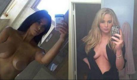 Kim Kardashian y Jennifer Lawrence, en algunas de las fotos que se han colado en la red.