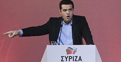 Alexis Tsipras, durante el discurso ante la plana mayor de Syriza.