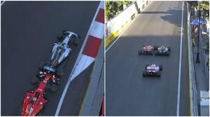 Los dos toques entre Vettel y Hamilton en Bakú.