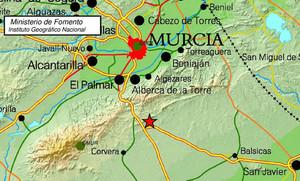 Imagen del Instituto Geográfico Nacional situando el epicentro del terremoto de Murcia.