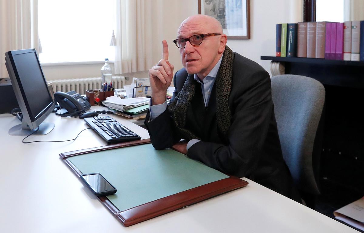 Sacked Catalan leader Carles Puigdemonts Belgian lawyer, Paul Bekaert, speaks in his office in Tielt in Belgium