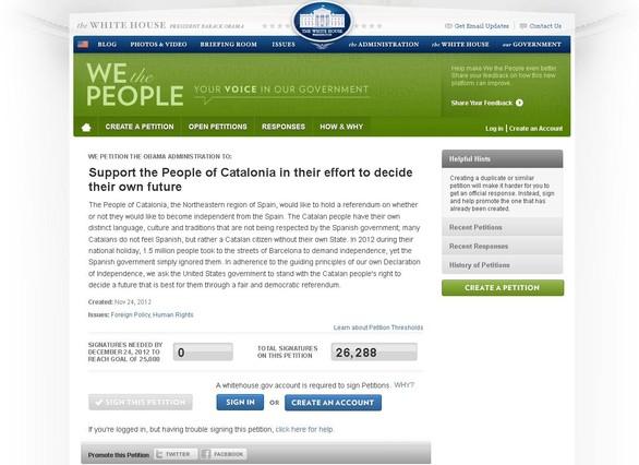 La petici�n que reclama el referendo en Catalunya en la web de la Casa Blanca llega a las 25.000 firmas