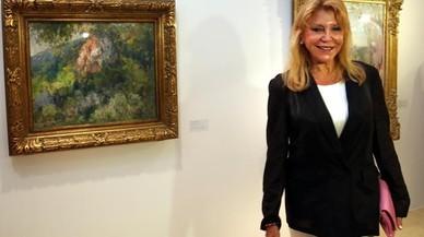 Carmen Thyssen, junto a un cuadro de Meifr�n de su colecci�n en una muestra temporal del Espai Thyssen.