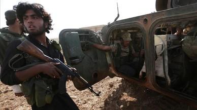 Efectivos de las Fuerzas Democr�ticas de Siria en la localidad de Tell Rifaat, al norte de la provincia de Alepo.