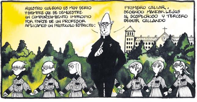 La viñeta de Ferreres alusiva al escándalo de abusos en los Maristas.