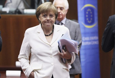 Angela Merkel durante la reunin del Eurogrupo.