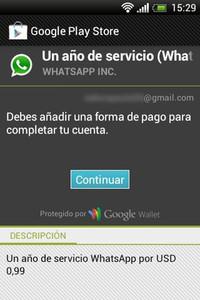 Captura de pantalla amb un avís de pagament de Whatsapp.