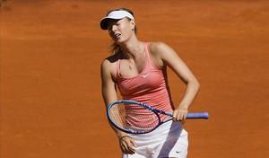 Xaràpova, amb gest de desesperació després de perde un punt contra Kuznetsova.