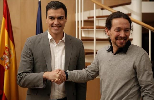 Pedro Sanchez con Pablo Iglesias
