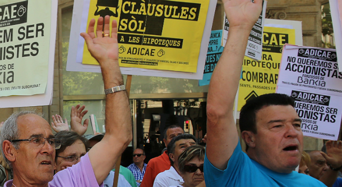 Protesta por las cláusulas suelo en Barcelona.