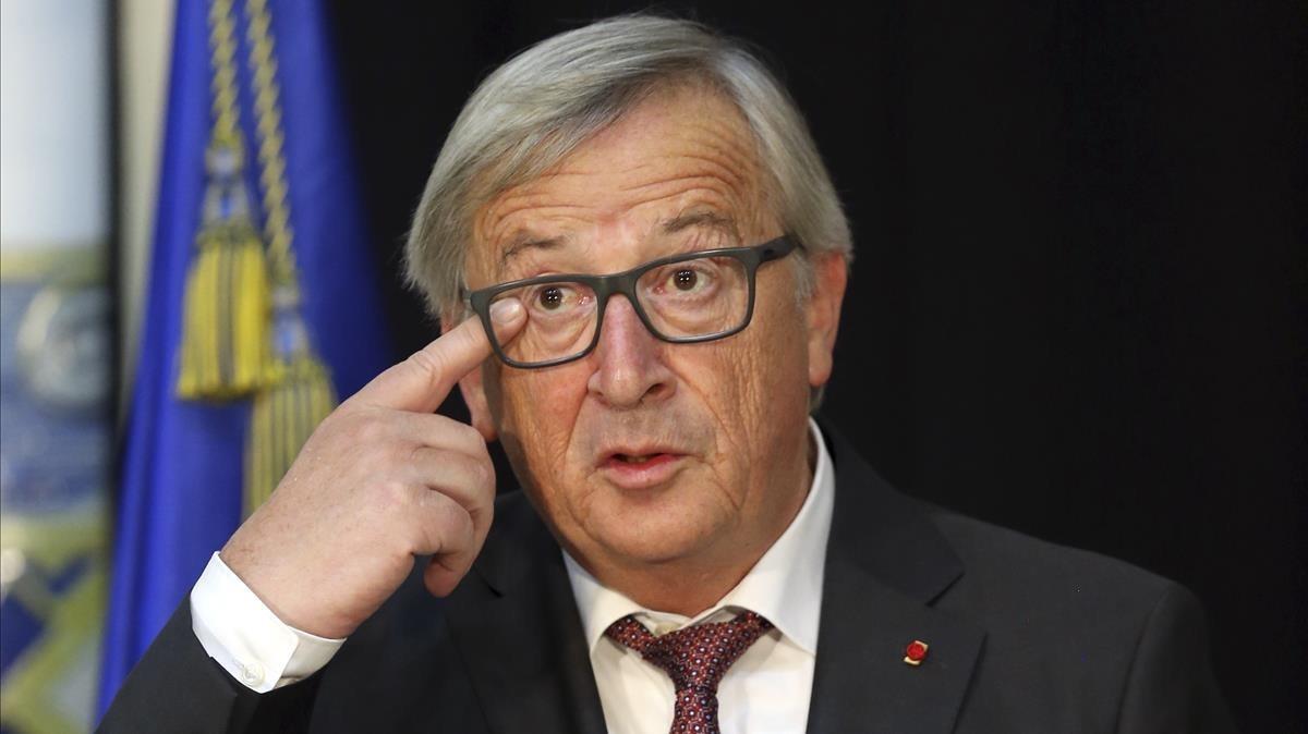Jean-Claude Juncker, durante una declaración en Lisboa, el 30 de octubre.