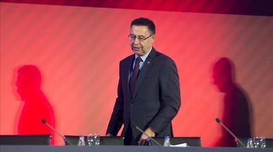Bartomeu, en la última asamblea de compromisarios del Barcelona.
