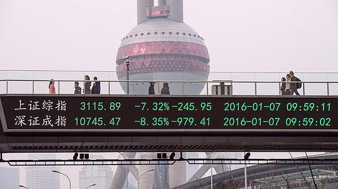 La bolsa china se desploma con caidas del 7%.