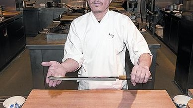 Hideki Matsushisha, con sus cuchillos en el Koy Shunka (en Copons, 7).