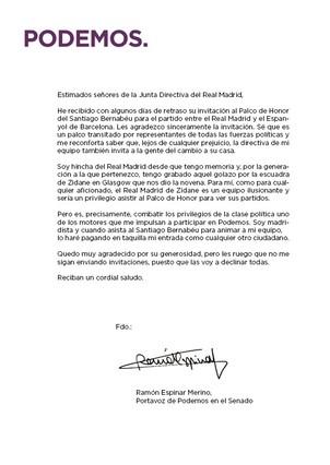 El portavoz de Podemos en el Senado rechaza una invitación del Real Madrid para ir al palco del Bernabéu