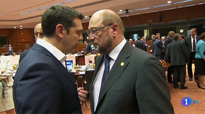 Alexis Tsipras amb Martin Schulz ('Informe semanal', TVE-1).